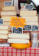Farmer cheese with price labels on market counter