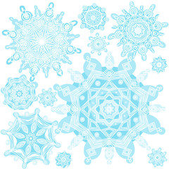 Winter vector set with snowflakes.