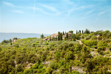 The villa on top of hill near from Gordes, Provence, France