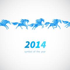 Seamless border of running horses.