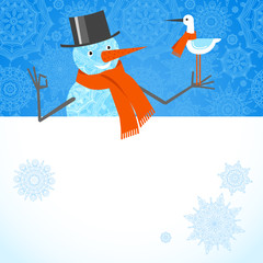 Vector illustration of Christmas Snowman with red scarf.