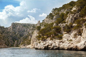 The cliffs in Massif des Calanques, Provence, France