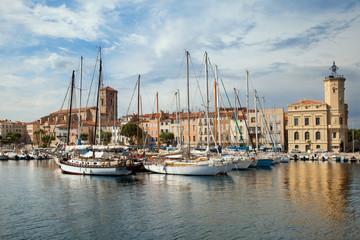 Moored yachts at quay in La Ciotat, Provence, France