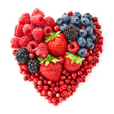 heart shape of fresh berries