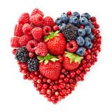 Fototapeta heart shape of fresh berries