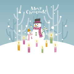 Snowman and little snowman with candles