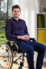 Young man on wheelchair