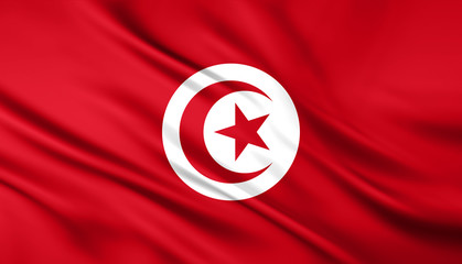 The National Flag of the Tunisia