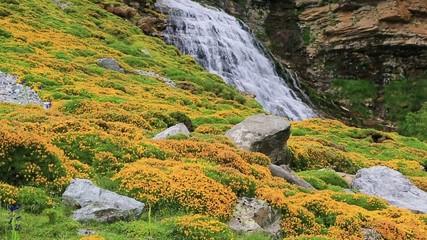 Cascada de la Cueva waterfall in Ordesa valley Pyrenees Huesca