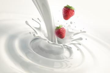 Erdbeeren mit Milchsplash