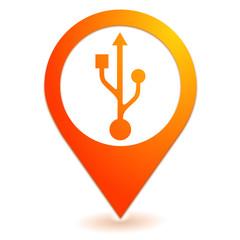 connexion usb sur symbole localisation orange