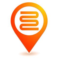 géothermie sur symbole localisation orange