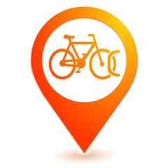 stationnement vélos sur symbole localisation orange