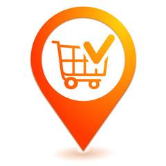valider le chariot sur symbole localisation orange