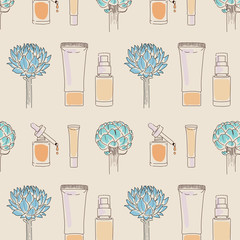 Woman beauty products for skin care seamless pattern