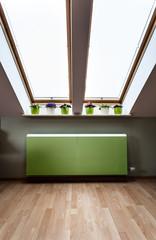 Green radiator in the attic