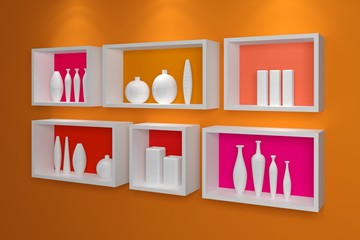 Modern shelves on wall.