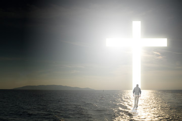 Walk to the cross on water