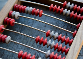 Wooden abacus closeup