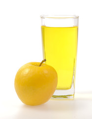 Yellow apple and juice