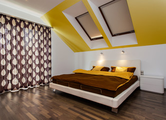 Big bed in modern bedroom
