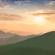 Colorful Sunset in the Mountains, hills, sun and sky