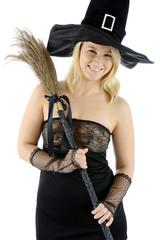 Hexe zu Halloween mit Hexenbesen