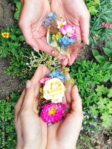 canvas print picture Hände halten Blumen