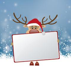 Weihnachten Rentier mit Schild