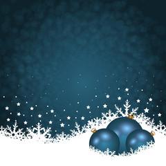 Weihnachten Hintergrund in blau mit Schnee und Kugeln