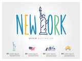 Fototapety New York travel set, Statue of Liberty, typography