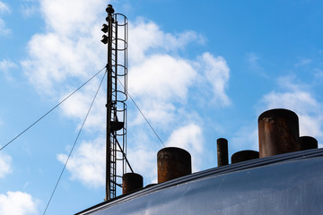 chimneys and antenna of a ferry