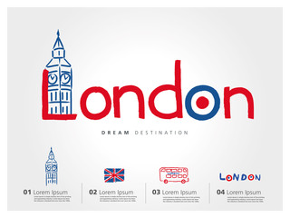 London travel set, England, Big Ben, bus, typography
