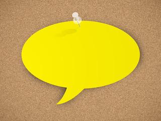 CORKBOARD with SPEECH BUBBLE (noticeboard chalkboard message)