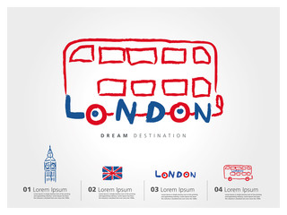 London travel set, England, Big Ben, bus, typography