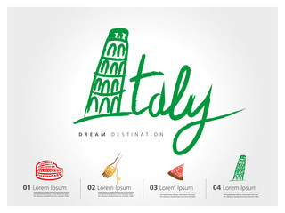 Italy travel set, Pisa, Rome, Colosseum, typography