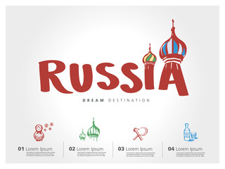 Russia travel set, Saint Basil's Cathedral, Moscow, typography