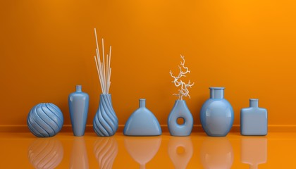 Composition with decorative pottery.