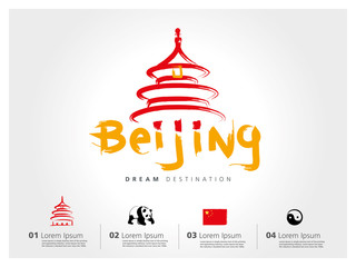 Beijing travel set, China, typography