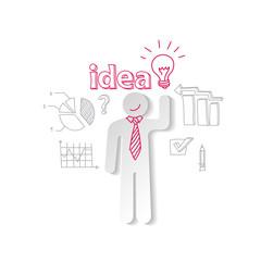 Paper man light  idea  business background