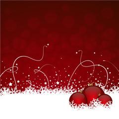 Weihnachten Hintergrund in rot mit Schnee und Kugeln
