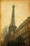 Fototapeta Eiffel tower.   Added paper texture.
