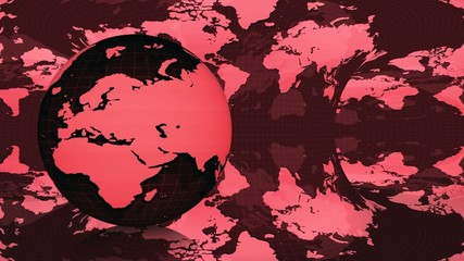 Earth globe rotated on a red earth map  background (loop)