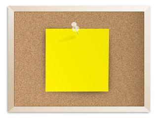 Papier épinglé sur panneau de liège (mot note message vierge)