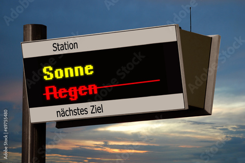 canvas print picture Anzeigetafel 4 - Sonne