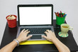 Female hands typing on keyboard of white isolated screen laptop
