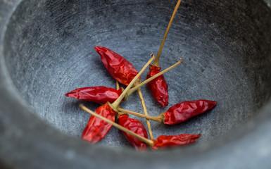 Chili pepper in mortar