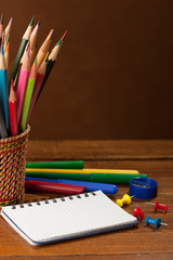 Back to school concept on wood  background. Selective focus.