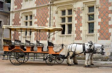 Pferdekutsche vor einem Schloss