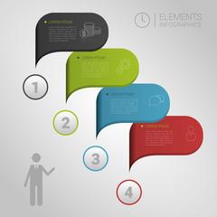 Modern business bubble speech template style vector